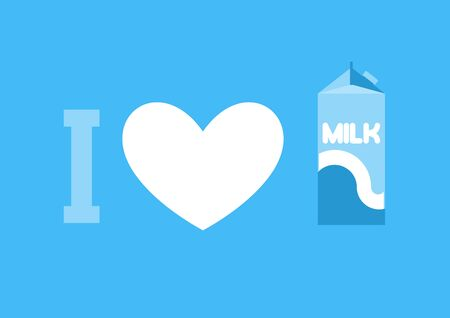 I love milk. Heart and carton of milk. Eemblem for lovers of dairy products Illustration