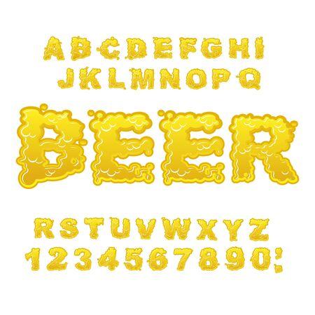 alphabet beer: Beer ABC. Alcoholic alphabet. drink letters. Yellow liquid font. Flowable typography Illustration