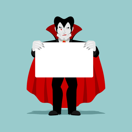 keep clean: Dracula keeps clean sheet. Vampire and white banner. ghoul winks Illustration