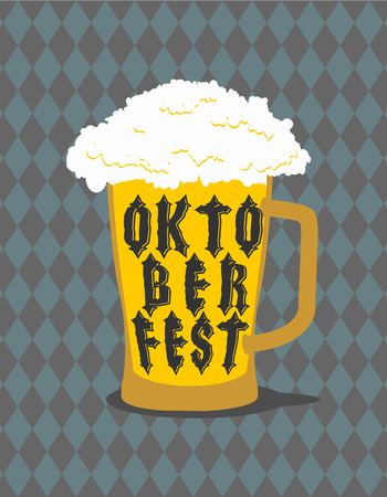 national holiday: Oktoberfest Mug Beer typography. Alcohol for national holiday in Germany Illustration