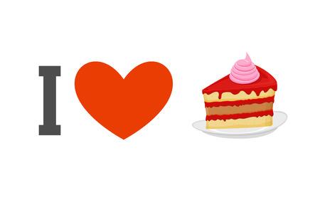 piece of cake: Me encanta el pastel. Corazón y un trozo de tarta. Vectores