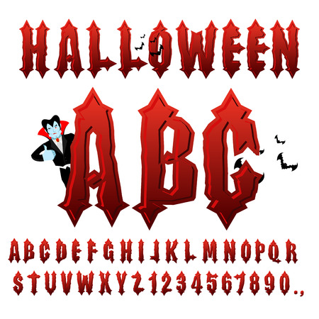 awful: Halloween ABC. Blood Gothic letters. Ancient alphabet. Vintage font. Bloody awful lettring for holiday