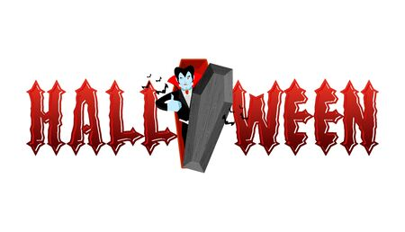 Halloween typography. Dracula in his coffin.   Vampire and lettring