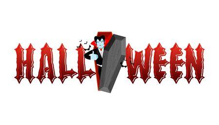 Typografia Halloween. Dracula w trumnie. Wampir i lettring Ilustracja