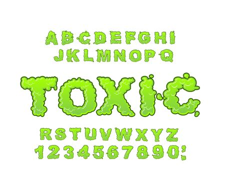 Toxic font. Green liquid ABC. Acid typography. Radiation alphabet. Poison letters Illustration