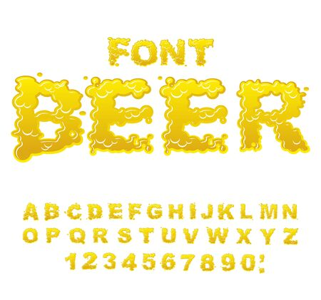 water liquid letter: Beer font. Yellow liquid ABC. Flowable typography. Alcoholic alphabet. drink letters