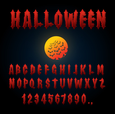 awful: Halloween font. Ancient alphabet. Blood Gothic letters. Vintage ABC. Bloody awful lettring for holiday