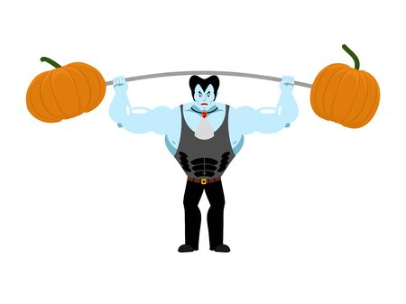 Strong Dracula holding rod and pumpkin. Sports vampire. powerful vampire. Illustration for halloween scary holiday Illustration