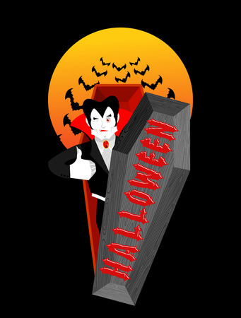 Halloween typography. Dracula in his coffin. scary holiday. Vampire and lettering