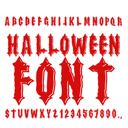 ancient alphabet: Halloween font. Ancient alphabet. Blood Gothic letters. Vintage ABC. Bloody awful lettring for holiday