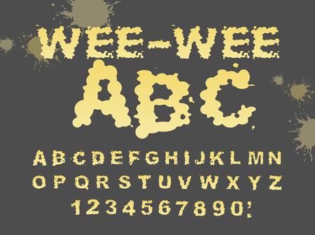 urinate: Wee-wee ABC. Yellow liquid font. piss typography. Urine alphabet. fluid letters