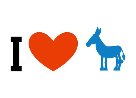 I love Democrat. Symbol of heart and donkey. Poster for elections in USA. Political debate in America. patriotic emblem for United States