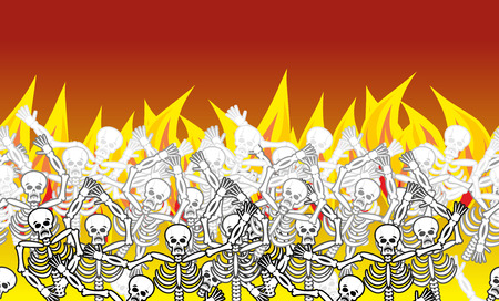 Sinners in fire hell horizontal pattern. dead in  Gehenna. Skeletons screaming for help. Hells torments. Religious background. reckoning for sins