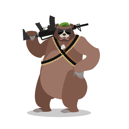 military beret: Military Bear with rifle. Grizzlies with gun. Wild beast and machine-gun tape. Animal soldiers. Army style. Soldiers badge and green beret Illustration