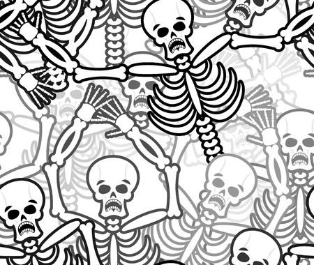 hades: Sinners seamless pattern. Skeleton in Hell background. Ornament of dead. Bones and skull texture. infernal torments. Religious background