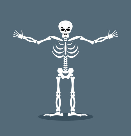 Happyl skeleton stretched out his arms in an embrace. Good-natured dead. Lovely kind of skull and bones