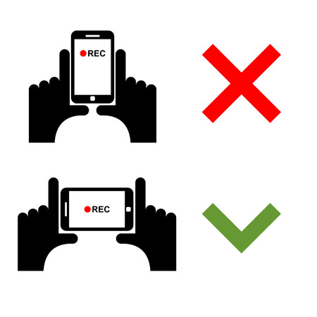 video shooting: Vertical video shoot impossible. Horizontal recording correctly. Sign template for shooting on smartphone camera Illustration