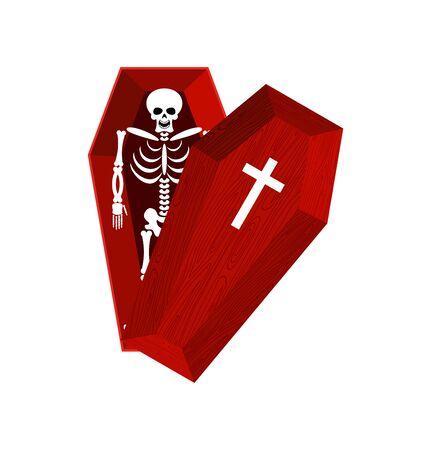 Skeleton in coffin. Open casket and skull and bones. Dead man in hearse. Illustration for halloween Vetores