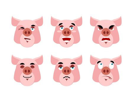 pigling: Pig Emotions. Set expressions avatar boar. Good and evil hog. Discouraged and cheerful. Sad and sleepy. Aggressive and cute farm animals