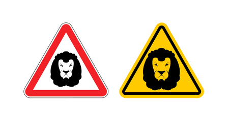 dangers: Warning sign lion attention. Dangers yellow sign wild animal. Aggressive beast. Set of road signs against an animal. Warning leo