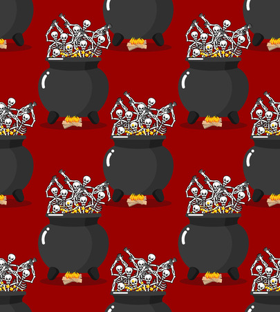 hades: Sinners in pot in Hell seamless pattern. Skeletons are cooked in resin in lower parts. Dead are experiencing  pains of hellishl background. Big black cauldron. Price paid for sins of texture. Religious ornament