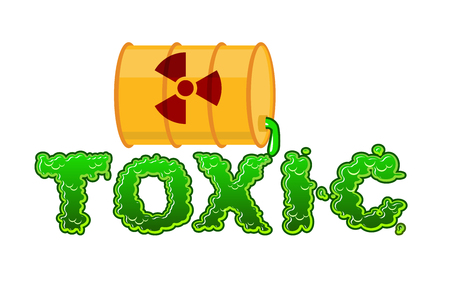 radioactive waste: Toxic lettring. Liquid green letters and barrel of poison waste. Flowable radioactive Acid font