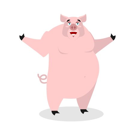 pigsty: Cheerful pig spread his arms in an embrace. Good-natured big pig. Farm animal. Lovely good boar Illustration