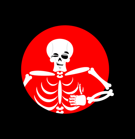 irony: Skeleton showing thumbs up. Signs all right. Happy skull. Bone Hand showing ok. Gesture of  hand. Good dead