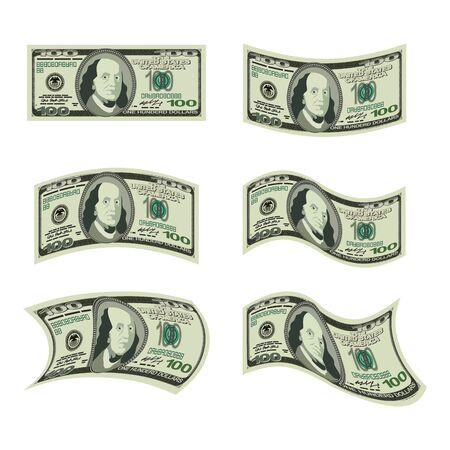us paper currency: USA money. Set of dollars. Developing cash of various shapes