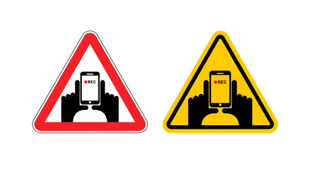 video shooting: Warning sign of attention vertical video. Dangers yellow sign hand and smartphone. Set of road signs against shooting on phone. Note vertical record Illustration