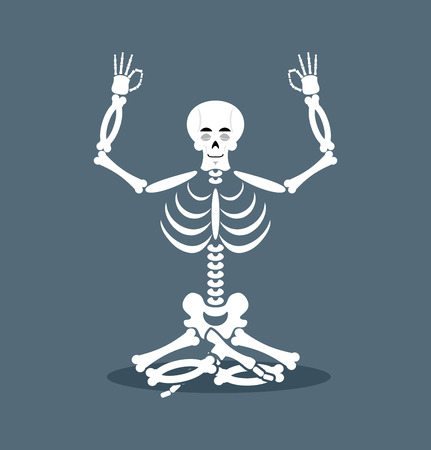 tailor seat: Skeleton meditating. Dead yoga. Status of nirvana and enlightenment. lotus Pose