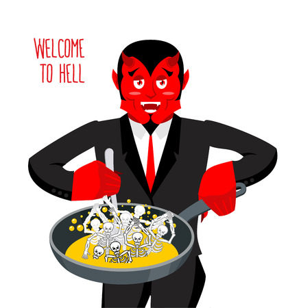 Satan roasts sinners in pan. Skeletons in boiling oil. hellish torments. Devil attempts dead. Price paid for sins. Religious illustration