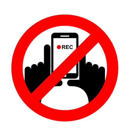 Stop vertical video. It is forbidden to record video. Prohibition sign. Crossed-shooting smartphone. Emblem against vertical videos. Red prohibition sign. Ban record Иллюстрация