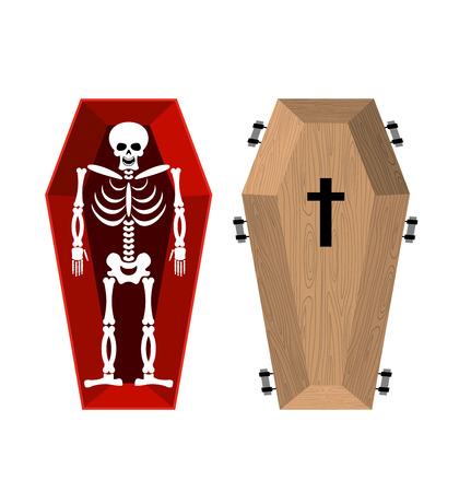 Skeleton in coffin. Open casket and skull and bones. Dead man in hearse. Illustration for halloween
