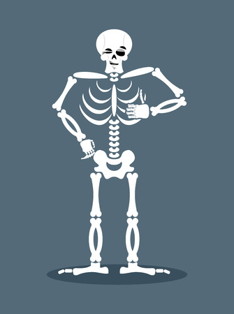 Skeleton showing thumbs up. Signs all right. Happy skull. Bone Hand showing ok. Gesture of  hand. Good dead