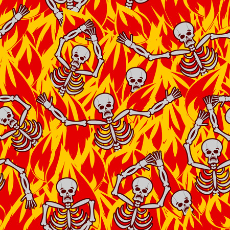 reckoning: Sinners in fire hell seamless pattern. dead in Gehenna. Skeletons screaming for help. Hells torments. Religious background. reckoning for sins Illustration