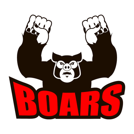 boars   for sports team. Angry pig. Aggressive wild boar. grumpy farm animal.