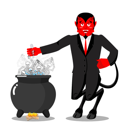 Satan roasts sinners boiler. Demon cooking Big black pan. Skeletons in boiling pitch. Hells torments. Devil attempts dead. Price paid for sins. Religious illustration