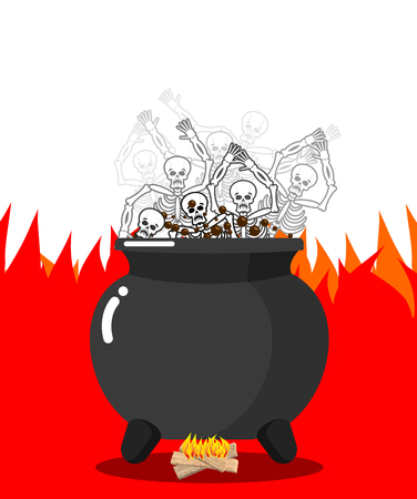 Sinners in cauldron in hell. Skeletons are cooked in resin in underworld. Dead are experiencing hellish pains. Big black pan. Price paid for sins. Religious illustration