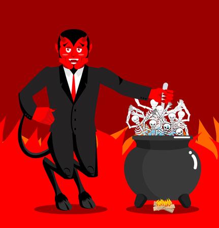 Devil boil sinners boiler. Demon cooking Big black pan. Skeletons in boiling pitch. Hells torments. Devil attempts dead. Price paid for sins. Religious illustration