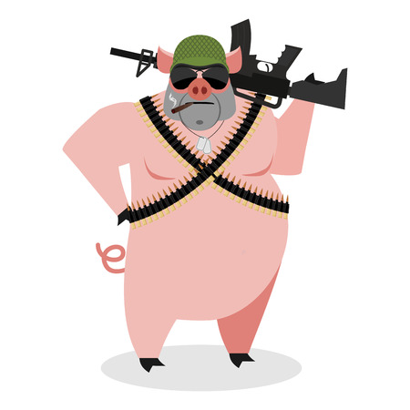 Military Pig with rifle. Boar with gun. hog and machine-gun tape. Animal soldiers. Army style. Soldiers badge and protective helmet Illustration