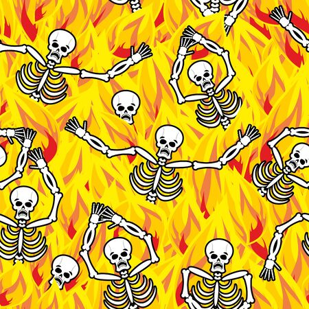 sinner: Sinners in fire hell seamless pattern. dead in Gehenna. Skeletons screaming for help. Hells torments. Religious background. reckoning for sins Illustration