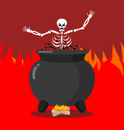 hellish: Sinners in cauldron in hell. Skeletons are cooked in resin in underworld. Dead are experiencing hellish pains. Big black pan. Price paid for sins. Religious illustration