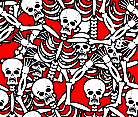 sinner: Hell seamless pattern. Skeleton in Sinners background. Ornament of dead. Bones and skull texture. infernal torments. Religious background Illustration