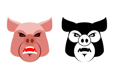 Angry pig. Aggressive wild boar. big boar. grumpy farm animal.  sports team