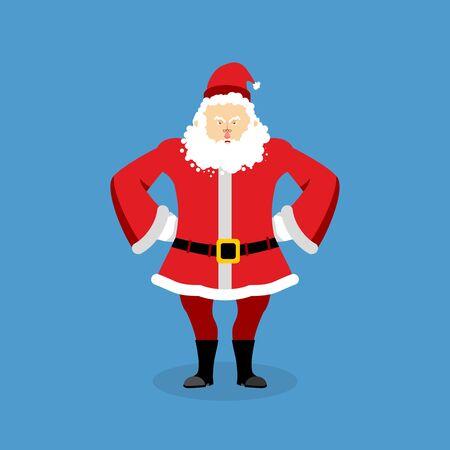 10c4b42940302 ... Papá Noel enojado. abuelo agresiva con barba en traje rojo. el carácter  de Navidad del mal. Hombre infeliz. Ilustración para el nuevo año