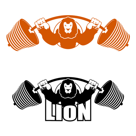 Angry Leo strong athlete. Barbell and Aggressive big beast. Lion Gym. Evil wild animal bodybuilder