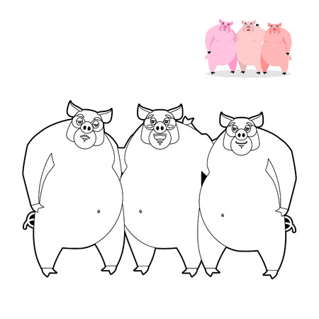 3 little pigs: 3 pig coloring book. Three Little Pigs in  linear style. Funny farm animals. Good character from fairy tale. Thick pink animal. Lovely boar