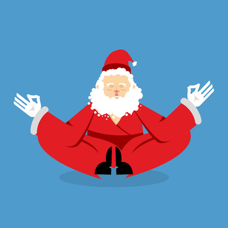 nirvana: Santa meditating. Christmas yoga. Status of nirvana and enlightenment. grandfather with beard in red suit lotus pose. Illustration for new year Illustration
