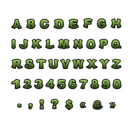 mutant: Mutant font. Green rough comic alphabet in style. Abstract ABC. Rough letters Illustration